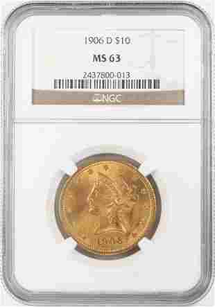 1906-D $10 Liberty Head Eagle Gold Coin NGC MS63