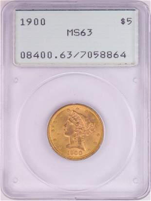 1900 $5 Liberty Head Half Eagle Gold Coin PCGS MS63 Old