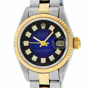 Rolex Ladies Two Tone Blue Vignette Diamond Oyster