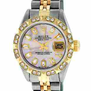 Rolex Ladies Two Tone Pink Mother Of Pearl Diamond