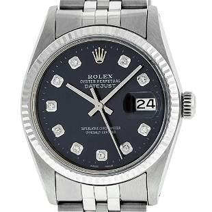 Rolex Men's Stainless Steel Black Diamond 36MM Oyster