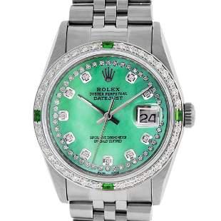 Rolex Men's Stainless Steel Green MOP Diamond Datejust