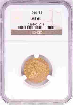 1910 $5 Indian Head Half Eagle Gold Coin NGC MS61