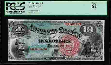 1869 $10 Rainbow Jackass Legal Tender Note Fr.96 PMG