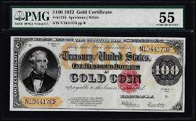 1922 $100 Gold Certificate Note Fr.1215 PMG About