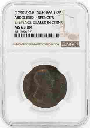 1790's Great Britain 1/2 Penny Middlesex Spences NGC