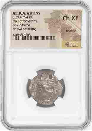 393-294 BC Attica Athens AR Tetradrachm Athena Owl Coin