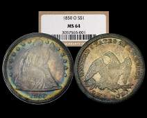 Finest Known 1850-O $1 Seated Liberty Dollar Coin NGC