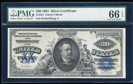 1891 $20 'Manning' Silver Certificate Note Fr.321 PMG