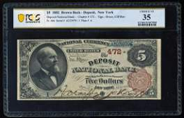 Serial # 1 - 1882BB $5 Deposit, NY CH# 472 National