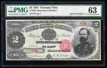 1891 $2 Treasury Note Fr.356 PMG Choice Uncirculated 63