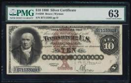 1880 $10 Silver Certificate Note Fr.289 PMG Choice