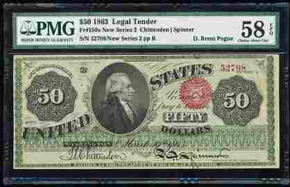 Finest Known - 1863 $50 Hamilton Legal Tender Note