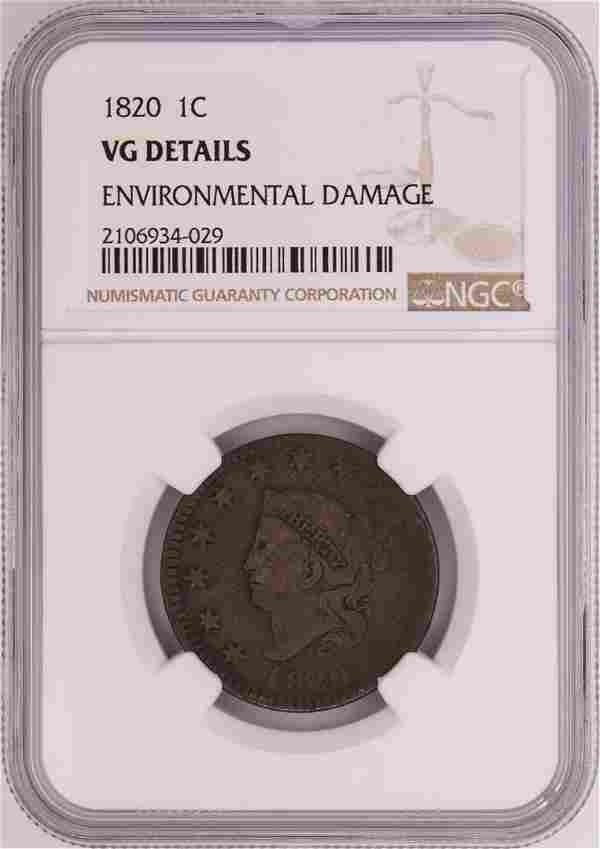 1820 Coronet Head Large Cent Coin NGC VG Details