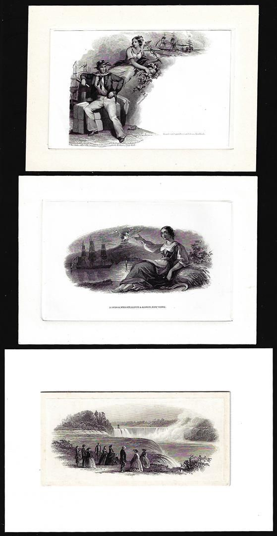 Lot of (3) 1800's Vignette from Original Proof Plates