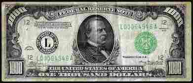 1934 $1,000 Federal Reserve Note San Francisco