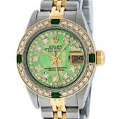 Rolex Ladies Two Tone MOP Diamond & Emerald Oyster