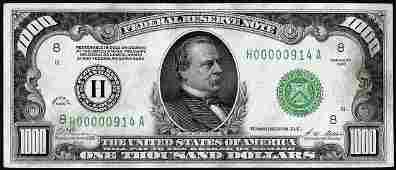 1928 $1,000 Federal Reserve Note St. Louis 3 Digit