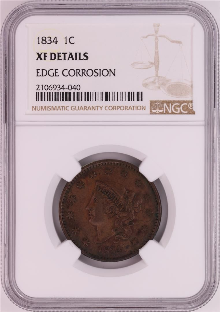 1834 Coronet Head Large Cent Coin NGC XF Details
