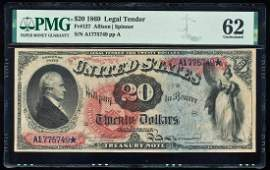 1869 $20 Legal Tender Note Fr.127 PMG Uncirculated 62
