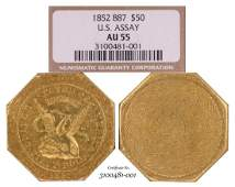 1852 $50 U.S. Assay 887 Territorial  Gold Slug Coin NGC