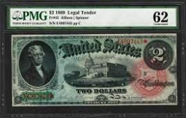 1869 $2 Rainbow Legal Tender Note Fr.42 PMG