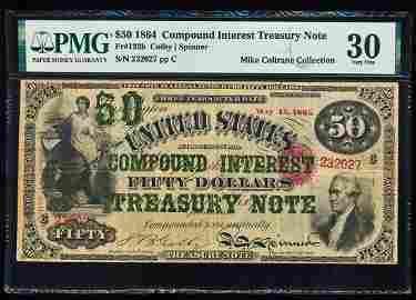 1864 $50 Compound Interest Treasury Note Fr.192b PMG
