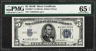 1934B $5 Silver Certificate STAR Note Fr.1652* PMG Gem