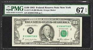 1985 $100 Federal Reserve Note New York Fr.2171-B PMG