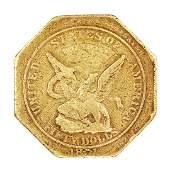 1851 $50 Humbert Reeded Edge Gold Slug Coin