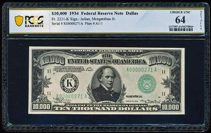 1934 $10,000 Federal Reserve Note Fr.2231-K PCGS Choice