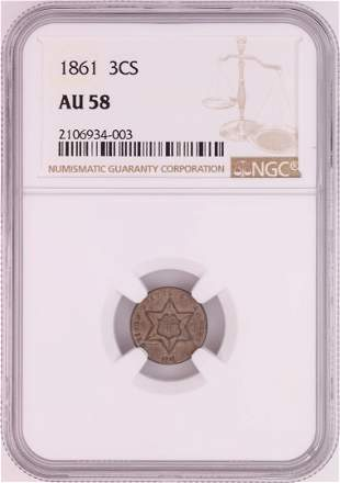 1861 Three Cent Silver Piece Coin NGC AU58