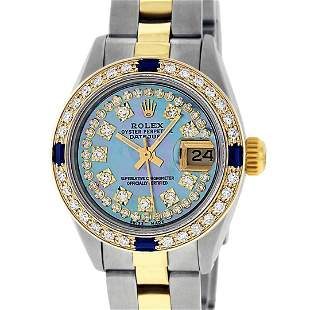 Rolex Ladies Two Tone 18K Gold Bezel Blue String