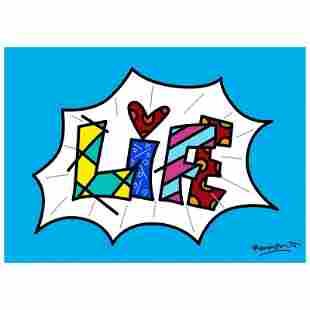 """Romero Britto """"Life Blue Mini Word"""" Giclee"""