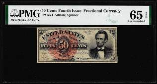 1863 Fourth Issue 50 Cent Lincoln Fractional Currency