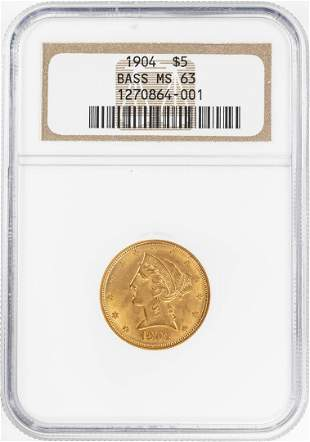 1904 $5 Liberty Head Half Eagle Gold Coin NGC MS63 Bass