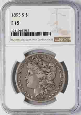 1893-S $1 Morgan Silver Dollar Coin NGC F15