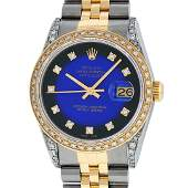 Rolex Men's Two Tone Steel & Gold Blue Vignette Diamond