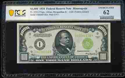1934 $1,000 Federal Reserve Note Minneapolis PCGS