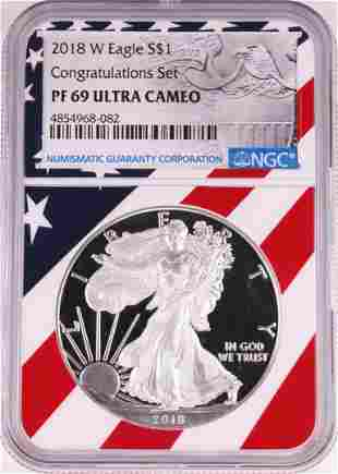 2018-W $1 Proof American Silver Eagle Coin NGC PF69