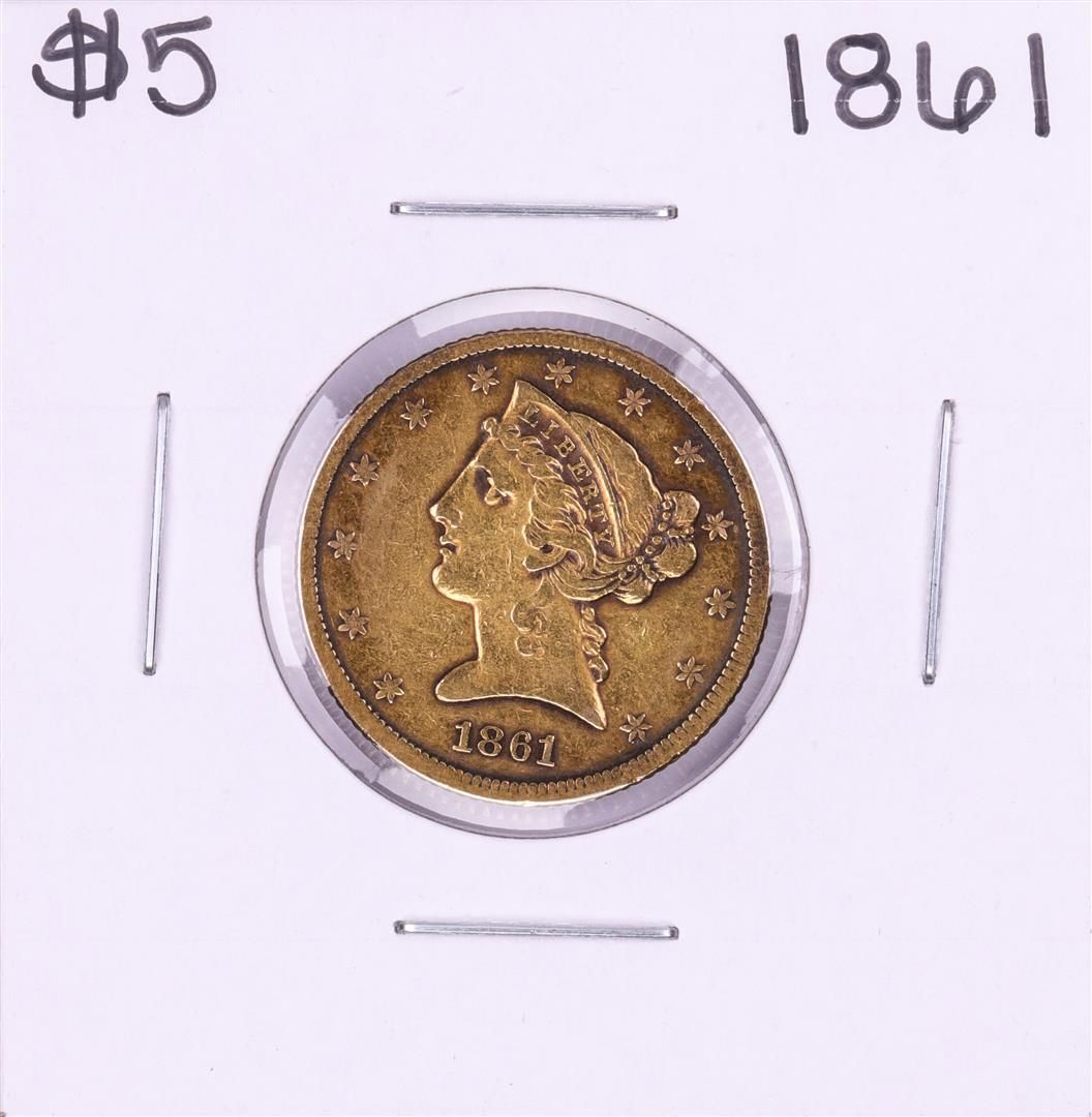 1861 $5 Liberty Head Half Eagle Gold Coin