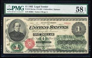 62 $1 Legal Tender Note Fr.16 PMG Choice About