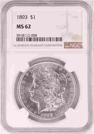 1893 $1 Morgan Silver Dollar Coin NGC MS62