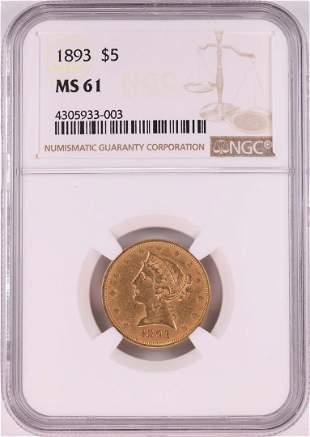 1893 $5 Liberty Head Half Eagle Gold Coin NGC MS61
