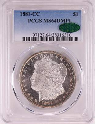 1881-CC $1 Morgan Silver Dollar Coin PCGS MS64DMPL CAC