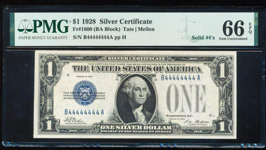 Solid Serial Number 1928 $1 Funnyback Silver