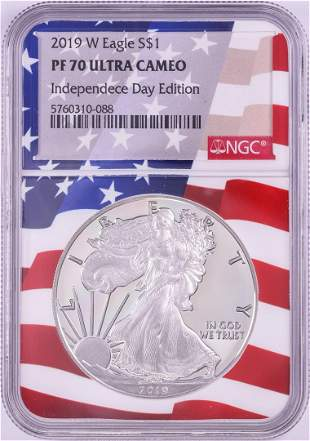 2019-W $1 Proof American Silver Eagle Coin NGC PF70