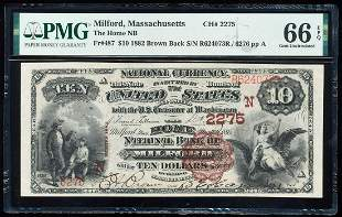 1882BB $10 Milford, MA CH# 2275 National Bank Note PMG
