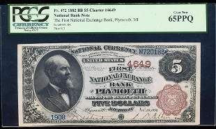 1882BB $5 Plymouth, MI CH# 4649 National Bank Note PCGS