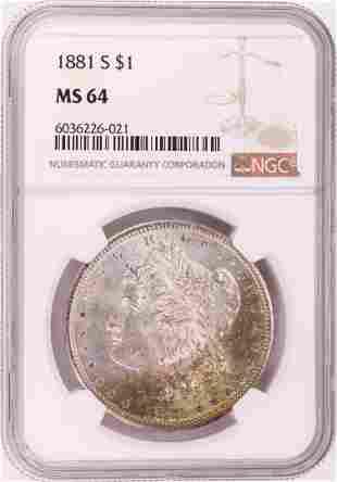 1881-S $1 Morgan Silver Dollar Coin NGC MS64 Great